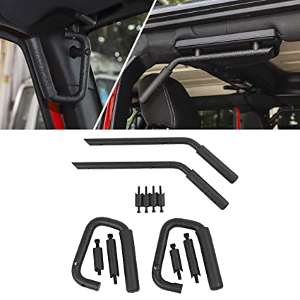 Pair Matte Black Front Grab Handles Grip Handle for Jeep Wrangler JK JKU Sports Sahara Freedom Rubicon X /& Unlimited X 2//4 Door Roll Bar 2007-2017