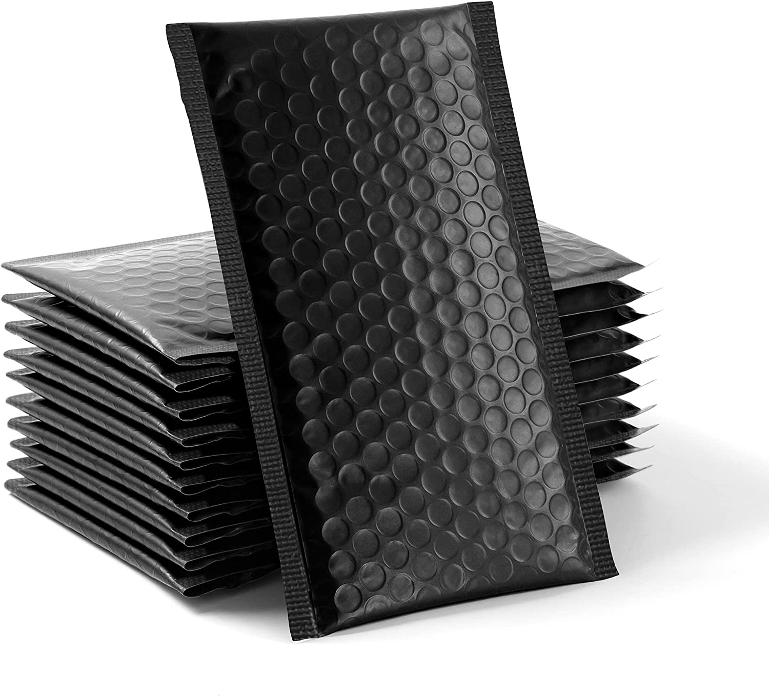 60 pcs Upgraded Poly Bubble Mailers Usable Size 4x8 Inch Padded Envelopes Bubble Lined Poly Mailer Self Seal Black (Inside Size: 4x8)