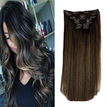 Laavoo 16 Inch Clip In Balayage Human Hair Ombre Color 2 Darkest Brown Fading To 8 Light Brown And 2