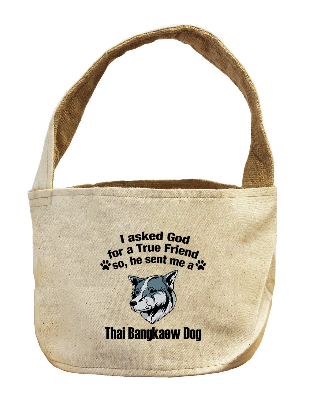 Style in Print Canvas/Burlap Basket Asked God Friend Thai Bangkaew Dogdog by Style in Print