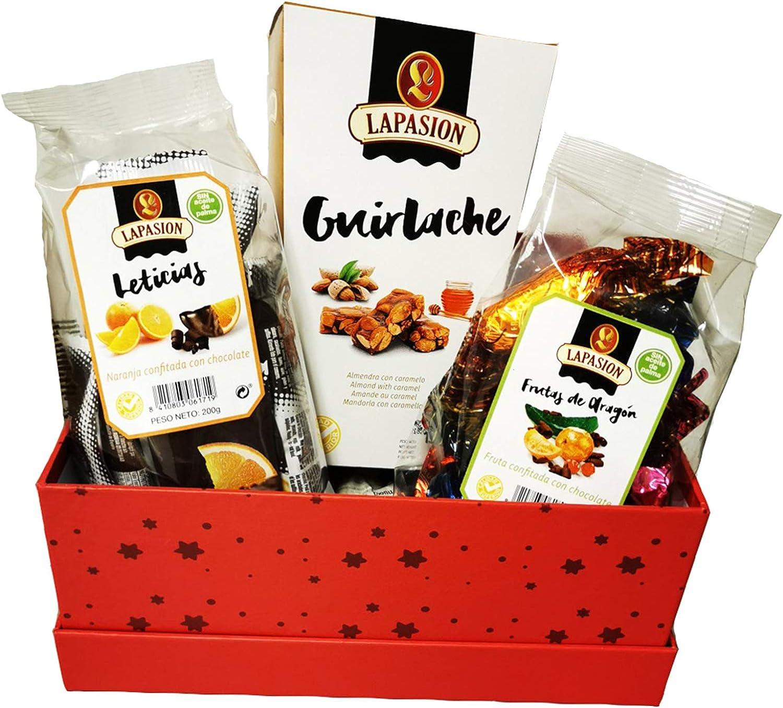 LAPASION - Lotes, cestas y regalos. Cesta mixta con Frutas de Aragón, Guirlache y Gajos de Naranja confitada con chocolate.: Amazon.es: Alimentación y bebidas