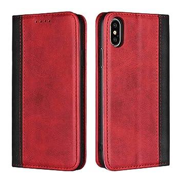 DENDICO Funda iPhone X, Funda iPhone XS, Flip Libro Cuero Genuino Carcasa para Apple iPhone X/iPhone XS - Vino Rojo + Negro