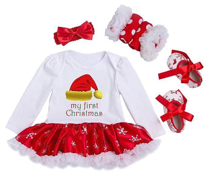 7ed3128547a5f YK Loving Nouveau Né Bébé Fille Pyjama de Noël Set de 4 pcs Déguisement  Barboteuse Costume de