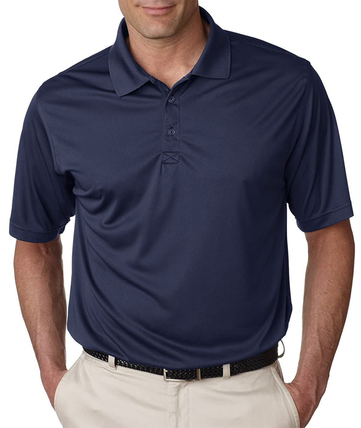 UltraClub Mens Cool /& Dry Sport Performance/áInterlock Polo-White