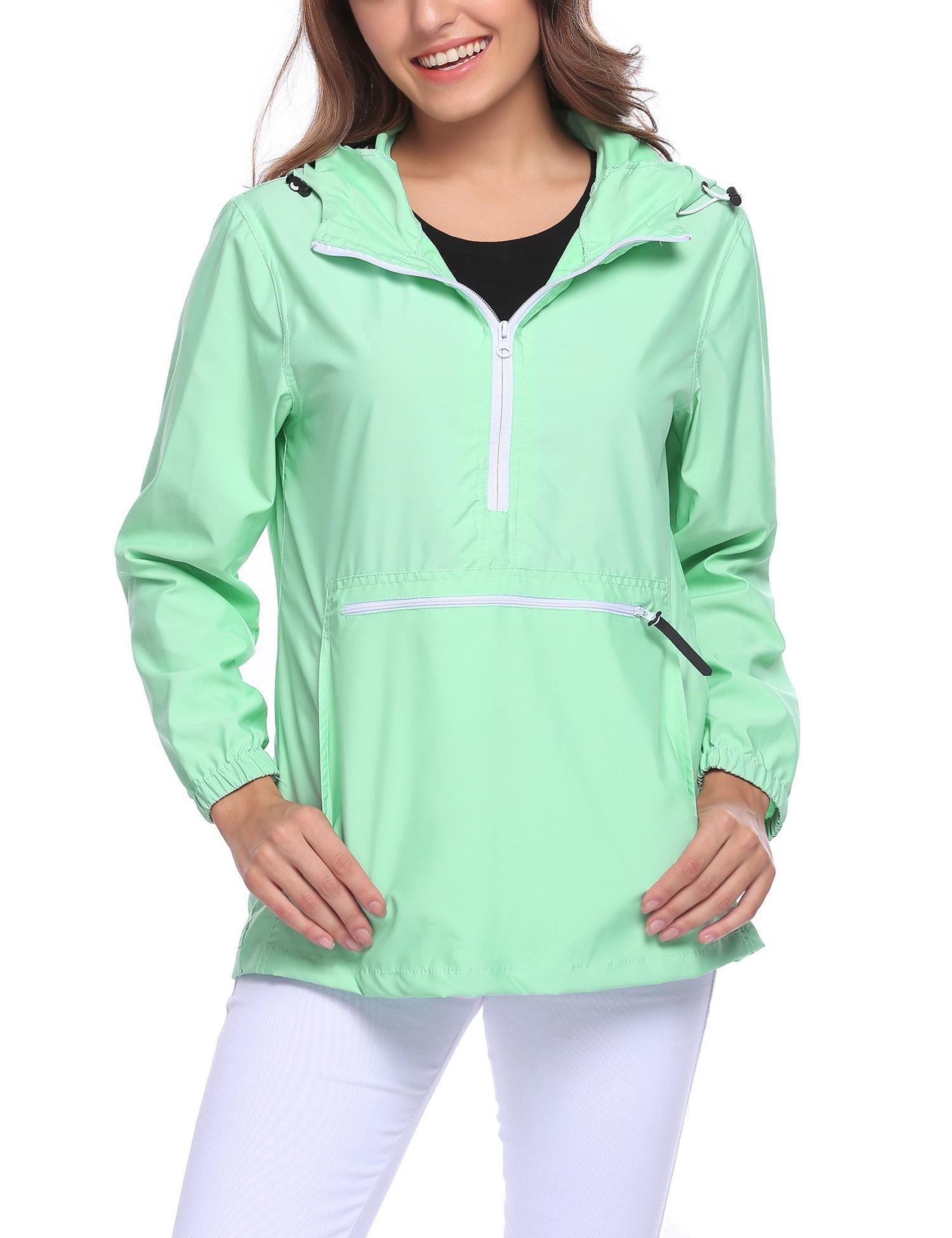 Easther Women's Rain Jacket Lightweight Windproof Waterproof Outdoor Hooded Rain Coat with Pockets