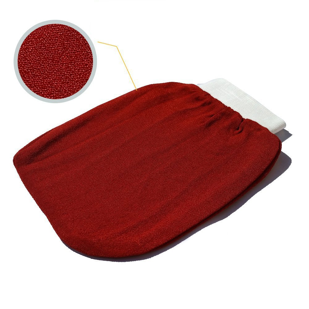 Elbahya Self Tanning Routine Applicator. Exfoliating Hammam Glove For Face & Body Skin. Double Sided, Washable Exfoliator Scrub Remove Dead Skin Cells, Blackheads, Spa Mitt For Men and Women (Red)