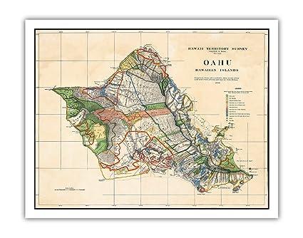 Amazon.com: Oahu - Hawaiian Islands - Hawaii Territory Survey Map ...