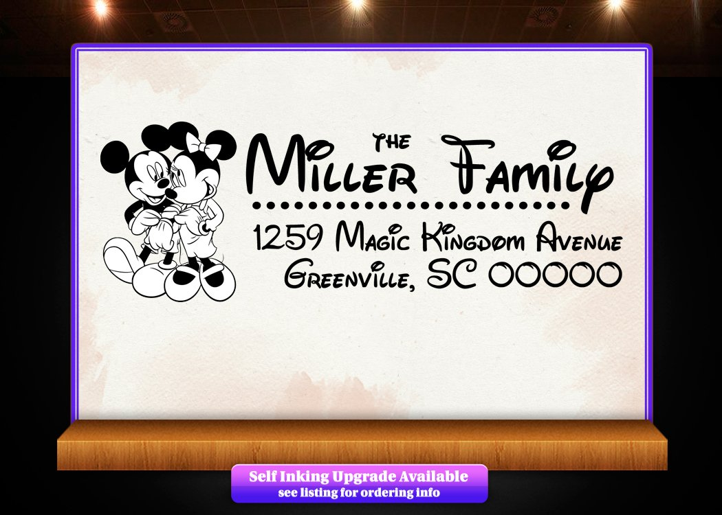 Amazon.com: Disney Theme Return Address Custom Rubber Stamp - Style ...