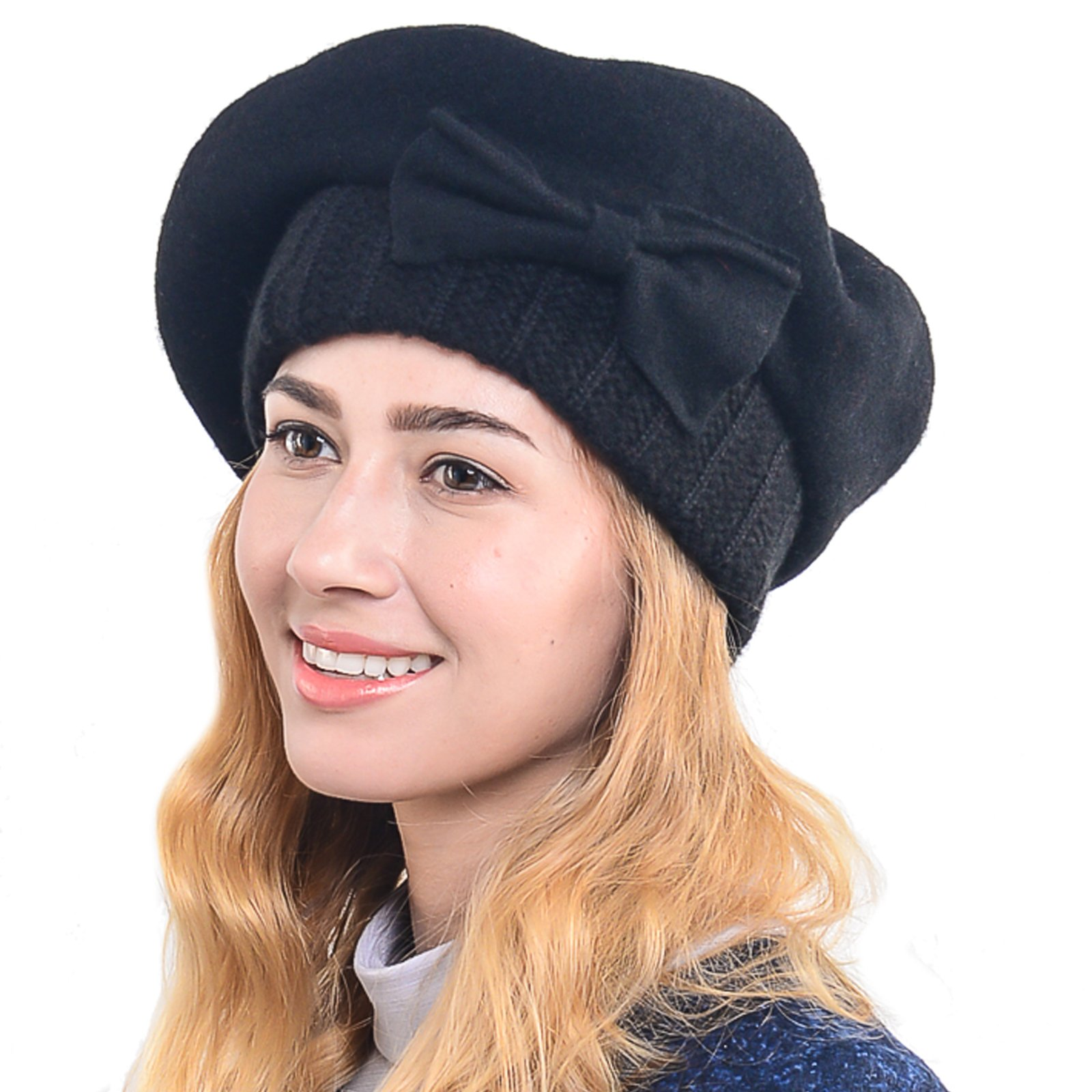 Women's French Beret - 100% Wool Cloche Hat - Beret Beanie for Winter C020 (Hy022-Black)