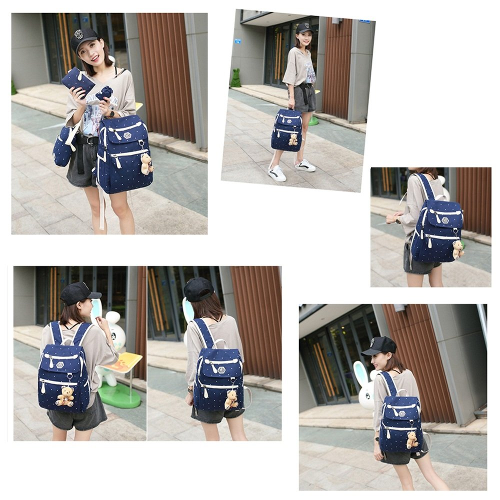 a51dbcef5372 Fanci 4Pcs Polka Dot Women Canvas Casual Daypack for Girls Middle ...