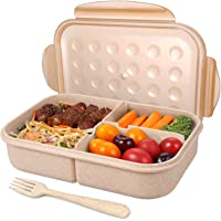 Bento Box for Adults Lunch Containers with 3 Compartment Lunch Box Food Containers Leak Proof Microwave Safe(Flatware…