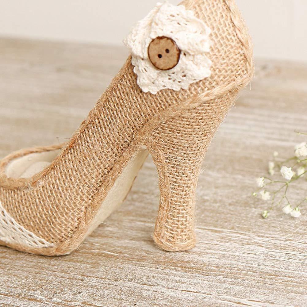 IUwnHceE Anniversaire ou Cr/émaill/ère Stiletto Ring Shoe Cadeau Coussin Shabby Chic avec Porte-Bijoux en Tissu hessois Finition et Belle Et Bouton Id/éal Mariage