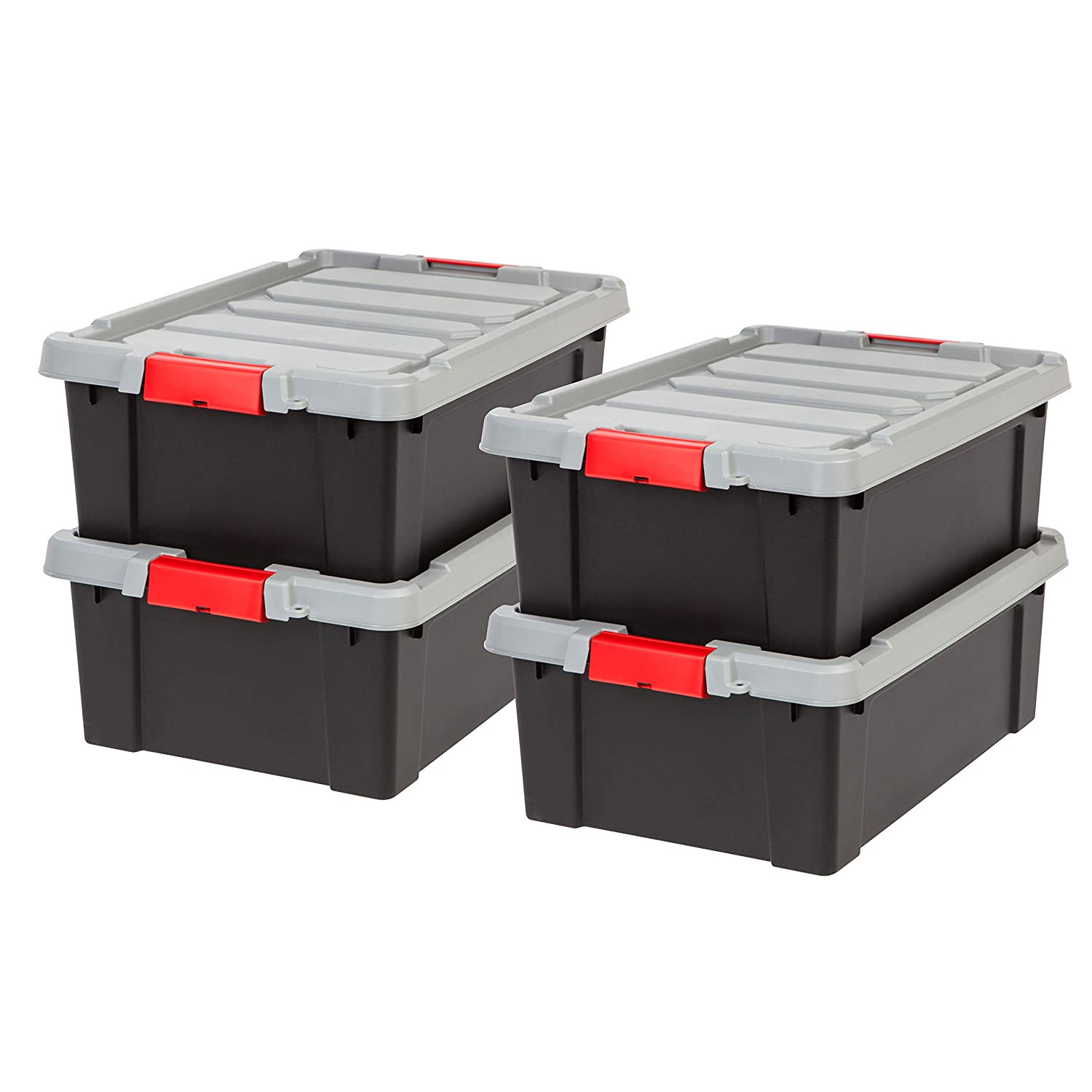IRIS 11.75 Gallon Store-it-All Heavy Duty Stackable Utility Tote, Black with Red Buckle