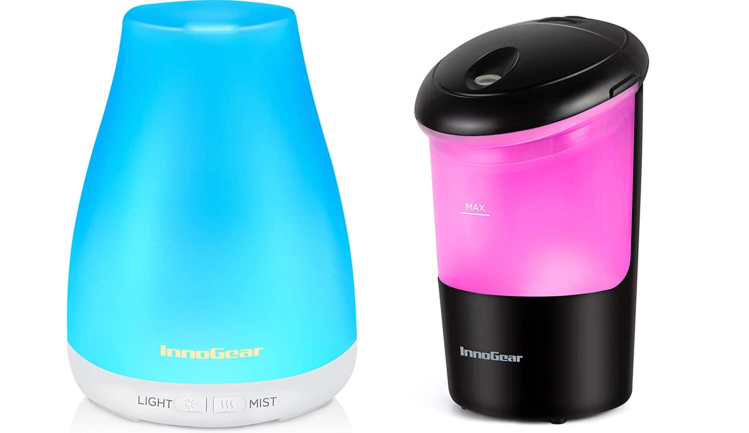 InnoGear Essential Oil Diffuser, Ultrasonia Diffuser Ionizer Aromatherapy Diffusers Cool Mist Humidifier with Colorful LED Lights with Intermittent/Continuous Mist for Office Travel Home