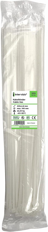 intervisio Bridas de Plastico Grandes Largas para Cables 530mm x 4,8mm, Blanco, 100 Piezas