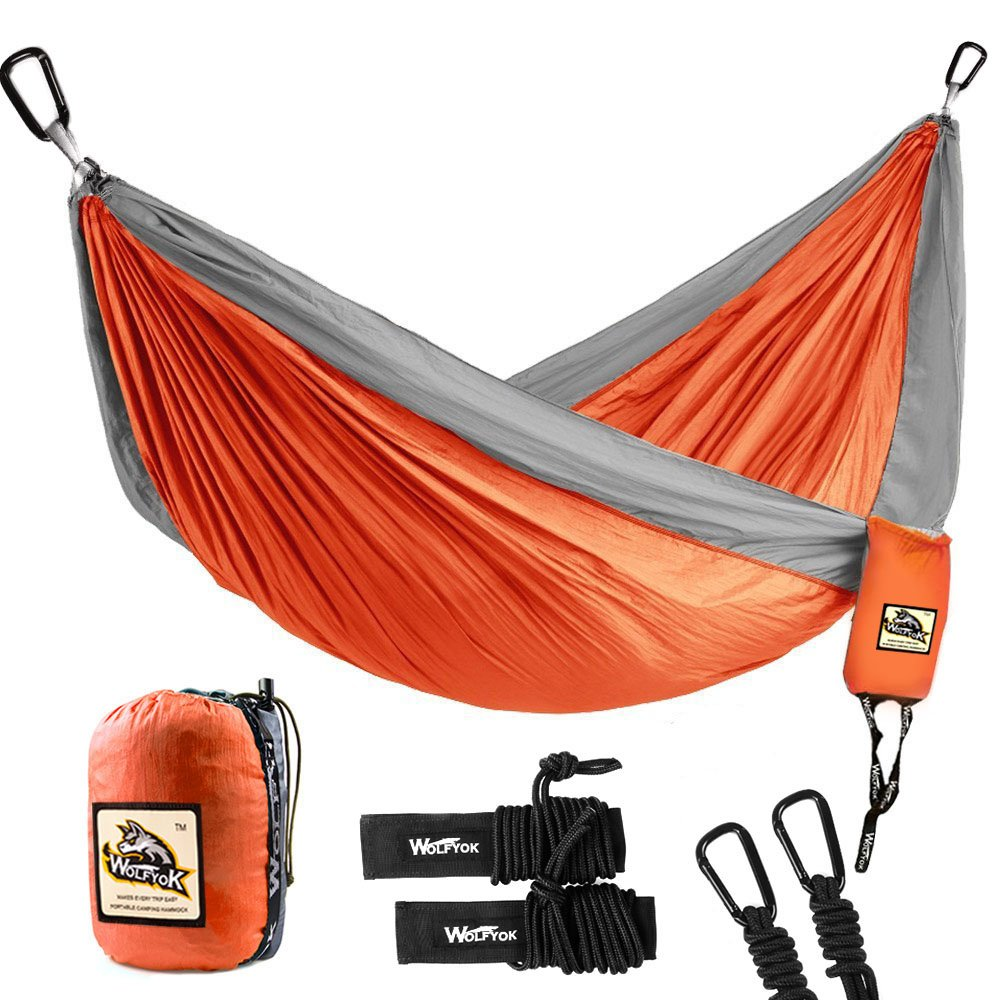 Wolfyok Double Camping Hammock Lightweight Portable Nylon Hammock with Parachute Nylon Ropes and Solid Carabiners for Backpacking, Camping, Travel, Beach, Yard, 126''(L) x 78''(W) Support Up to 660lbs