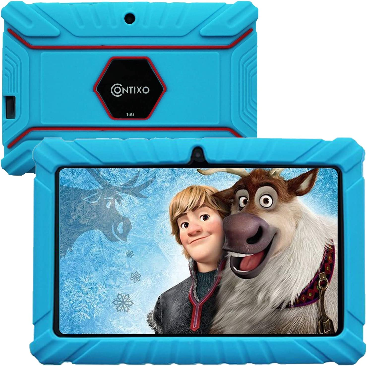 "Contixo V8-2 7"" Android 16GB Kids Tablet Parental Control Learning Education Apps on Google Certified Playstore Toy Tablet for Kids, Kids- Proof, WiFi Camera Best Gift (Blue)"