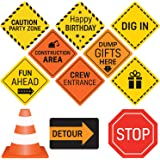 Construction Birthday Party Supplies Signs - 10 Double Sided Medium Size Traffic Cutout Signs for Kids Birthdays and Bedroom Decorations