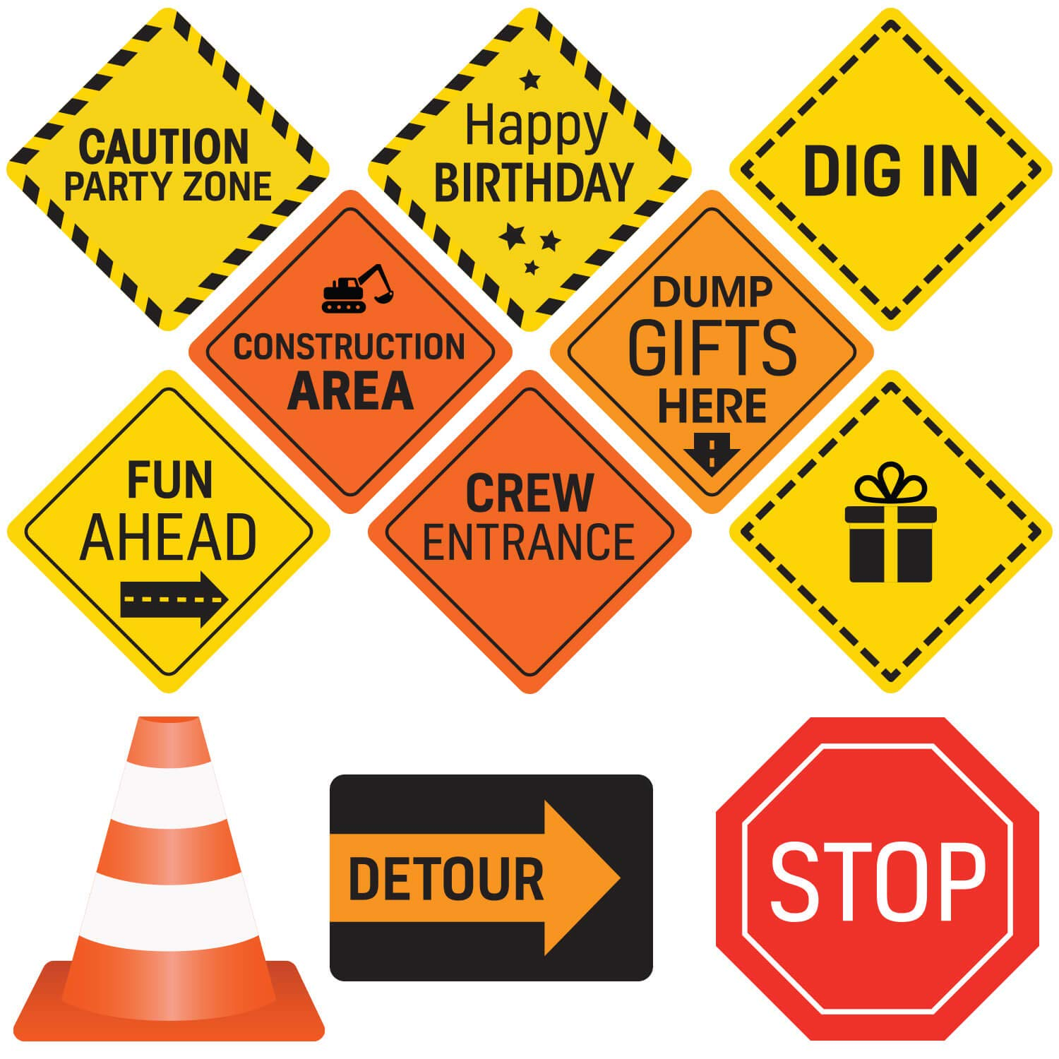 47f5f566f21e Construction Birthday Party Supplies Signs - 12 Double Sided Medium Size  Traffic Cutout Signs for Kids Birthdays and Bedroom Decorations
