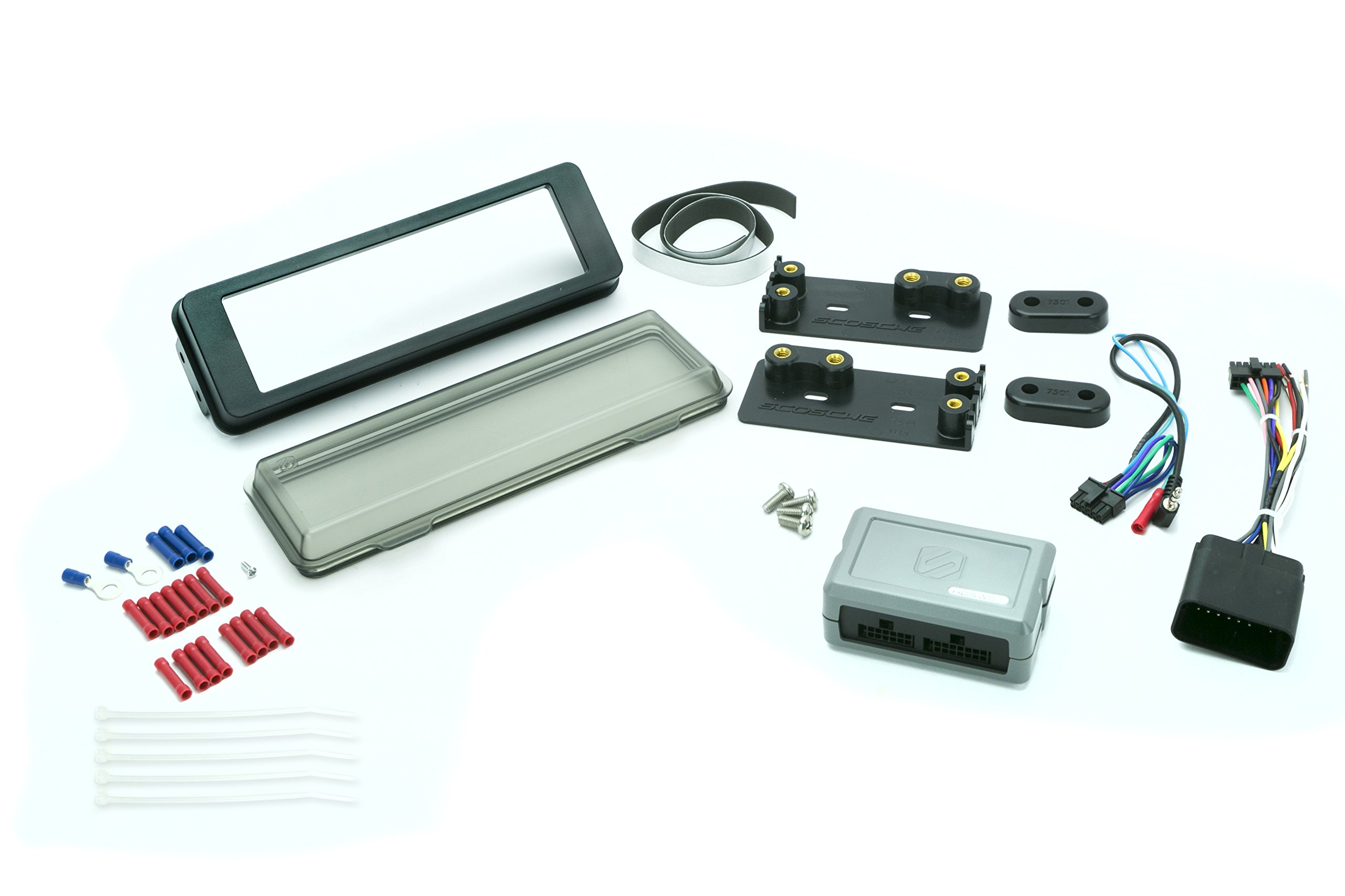 Scosche HD9813BN 1996-2013-UP Harley-Davidson Touring & Road Glide Compatible ISO Matte Black Single DIN Kit Including Weather Shield