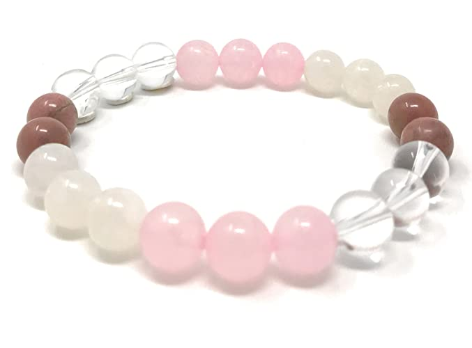 Handmade Jewelry |  Love Crystals | Power Bead Bracelet | Quality Healing Crystal Gemstone Bracelet | Moonstone Bracelet | Rhodonite Bracelet