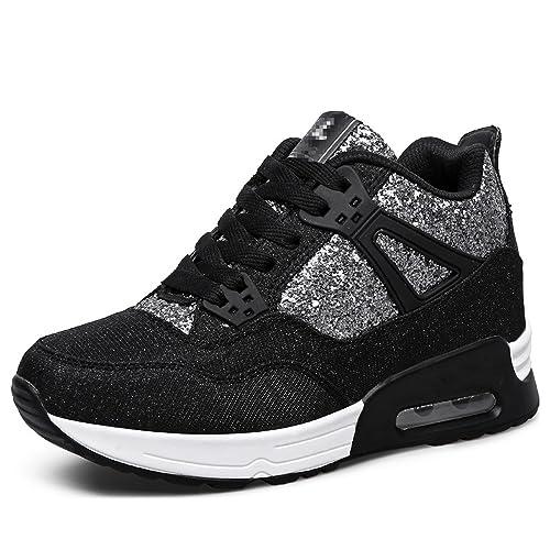 Habitaen 2018 Height Increasing Womens Shoes Platform Sneakers Tenis Feminino Flat Shoes,Black,35