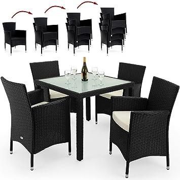 Amazon.de: Deuba Poly Rattan Sitzgruppe 4+1 Schwarz | 4 stapelbare ...
