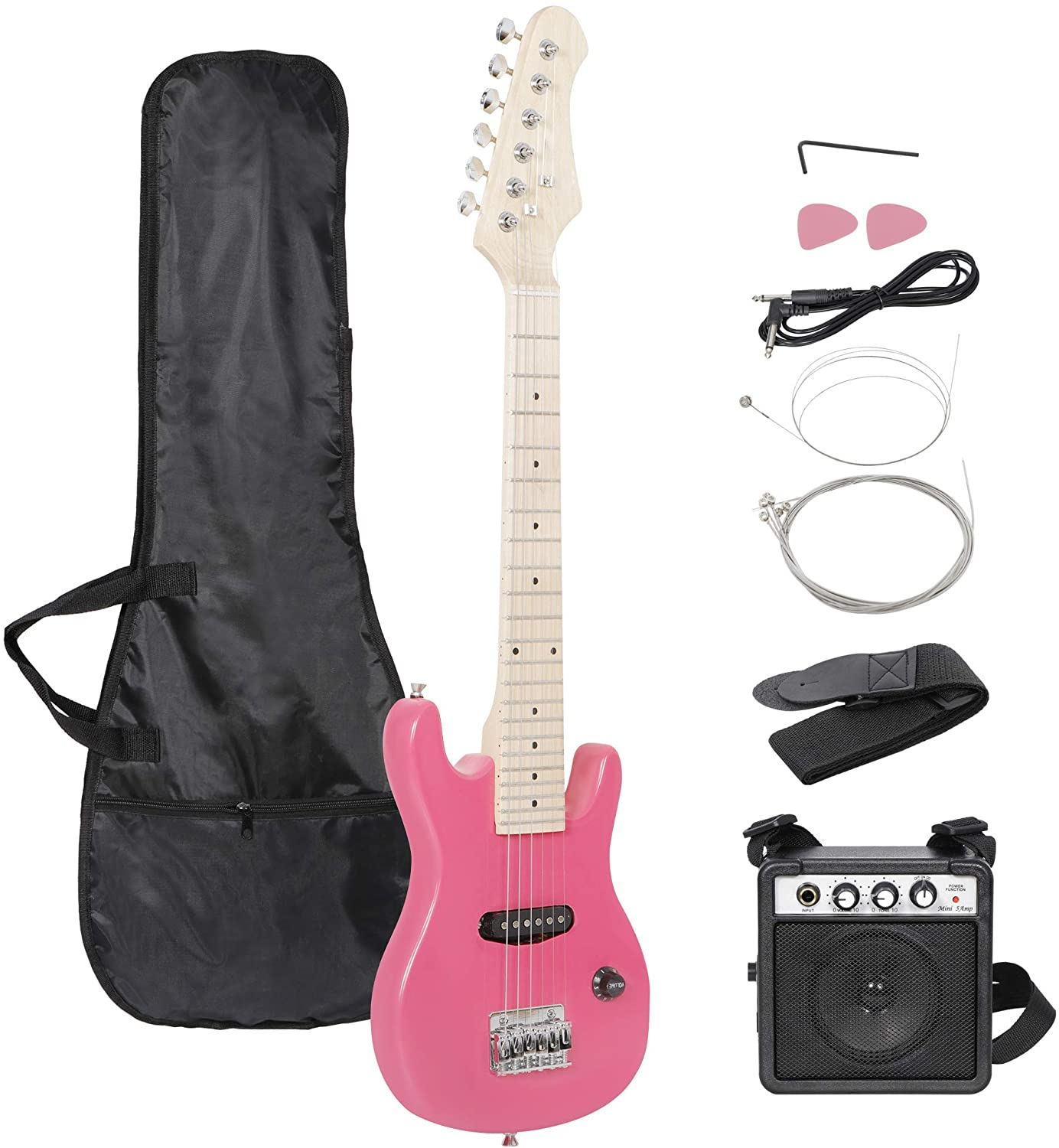 with 3 Watt Mini Rechargeable Electric Guitar Amp Cable Bag Strap Donner DLP-124P Solid Body Full-Size 39 Inch LP Electric Guitar Kit Shell Pink for Beginner