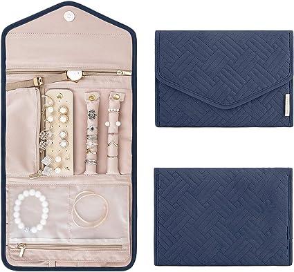 Bracelets Bleu Clair bagsmart Sac /à Bijoux de Voyage Trousse a Bijoux Organisateur Rangement Housse Rembourr/ée pour Colliers bagues