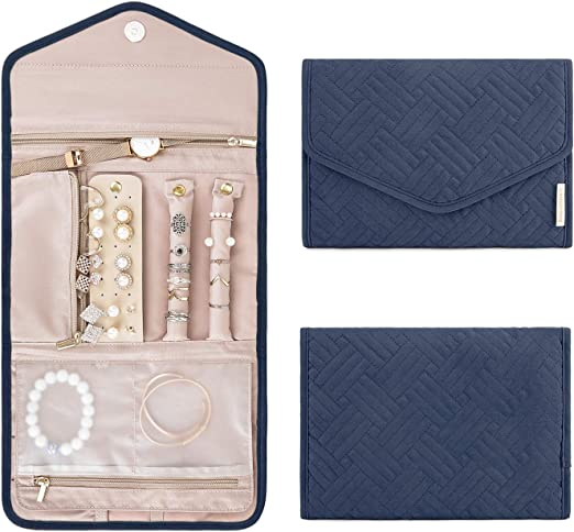 BAGSMART Travel Jewelry Organizer Roll Foldable Jewelry Case for Journey-Rings, Necklaces, Bracelets, Earrings, Smokey Blue