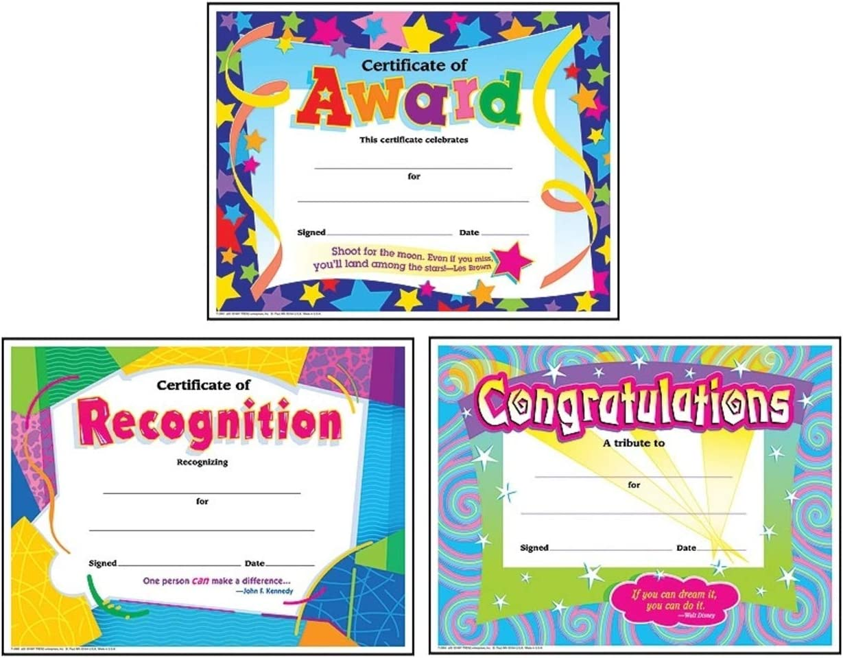 Colorful Award Certificates for Students and Professionals: Certificate of Award, Certificate of Recognition, Congratulations Certificate | Set of 3, Each Contains 30 Per Pack, 8.5 Inch x 11 Inch