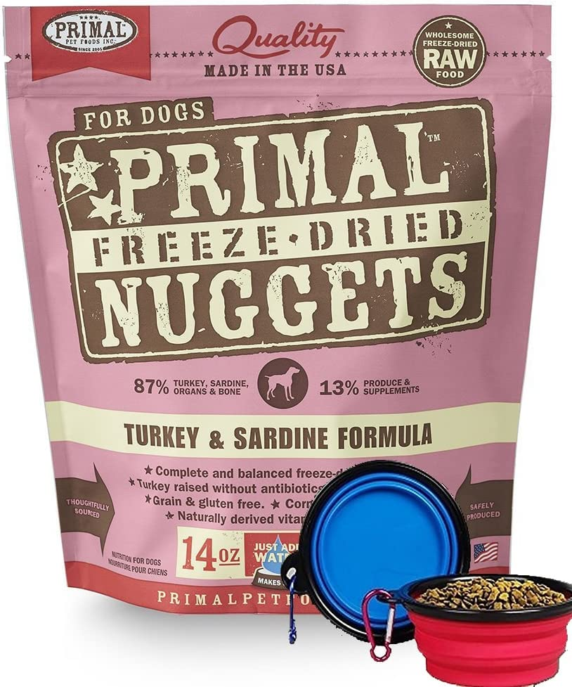 Primal Pet Food - Freeze Dried Dog Food 14-Ounce Bag with YHS PET Food Bowl - Made in USA (Turkey)
