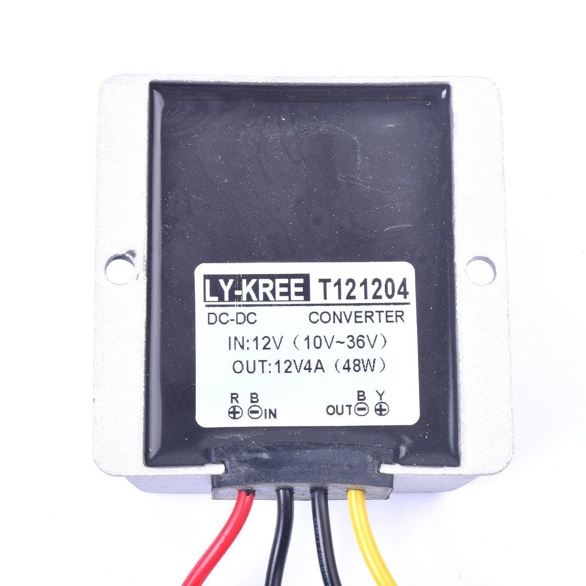 Car Dc 12v 4a Voltage Stabilizer Surge Protector Power Golf Cart Charger 36 Volt Wiring Diagram Supply Regulator For Auto Truck Vehicle Boat Solar System Etcdc10 36v Input Dc12v