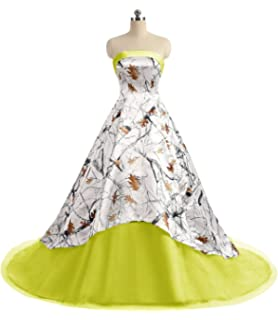 38f1c27f2b APXPF Women s Camo Printed Wedding Dress Tulle Ball Gown Prom Party  Quinceanera Dress