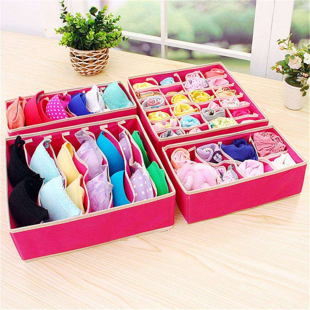 VADOLY Folding Underwear Bra Storage Box Closet Drawer Foldable Divider Socks Necktie Towel Stored Organizer 4Pcs