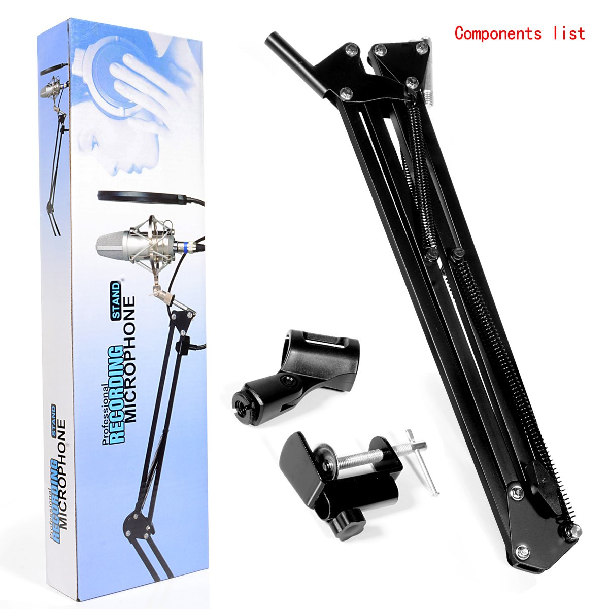 Arm Microphone Stand, Microphone Adjustable Desk Suspension Boom Scissor Arm with Mic Clip Holder and Table Mounting Clamp, featured Microphone Mount for DJ, music recorder and computer PC game