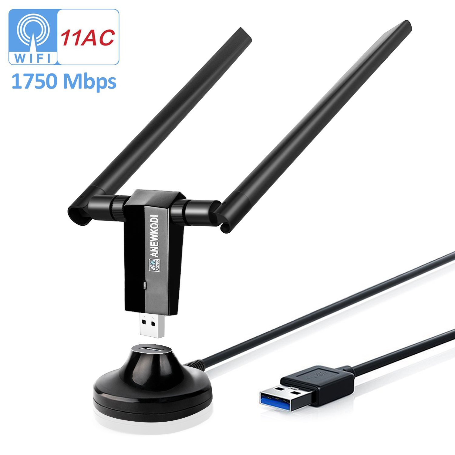 ANEWKODI AC1750Mbps USB WiFi Adapter USB 3.0 Double 5dBi Antenna USB Wireless Adapter Dual Band 2.4GHz/5.8GHz 1300Mbps 802.11ac/b/g/n Wireless Adapter for Desktop/Laptop/PC