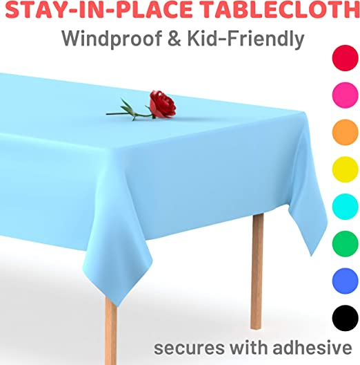 """Perzest 6 Pack Premium Disposable Plastic Table Cover Parties Plastic Tablecloth Great for 54/"""" x 108/"""" Rectangle Heavy Duty Reusable Washable Black Events Occasions"""