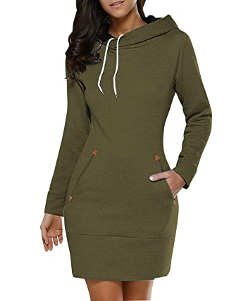 5dc487efa51 BUIBIU Women s Long Sleeve Cotton Slim Fit Midi Hoodie Dress Pocket Army  Green S