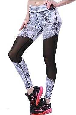 c2b2cb6430580e OVESPORT Women's Slim Mesh Active Yoga Running Pants Workout Multi-Colored  Inner Pocket Sports Leggings