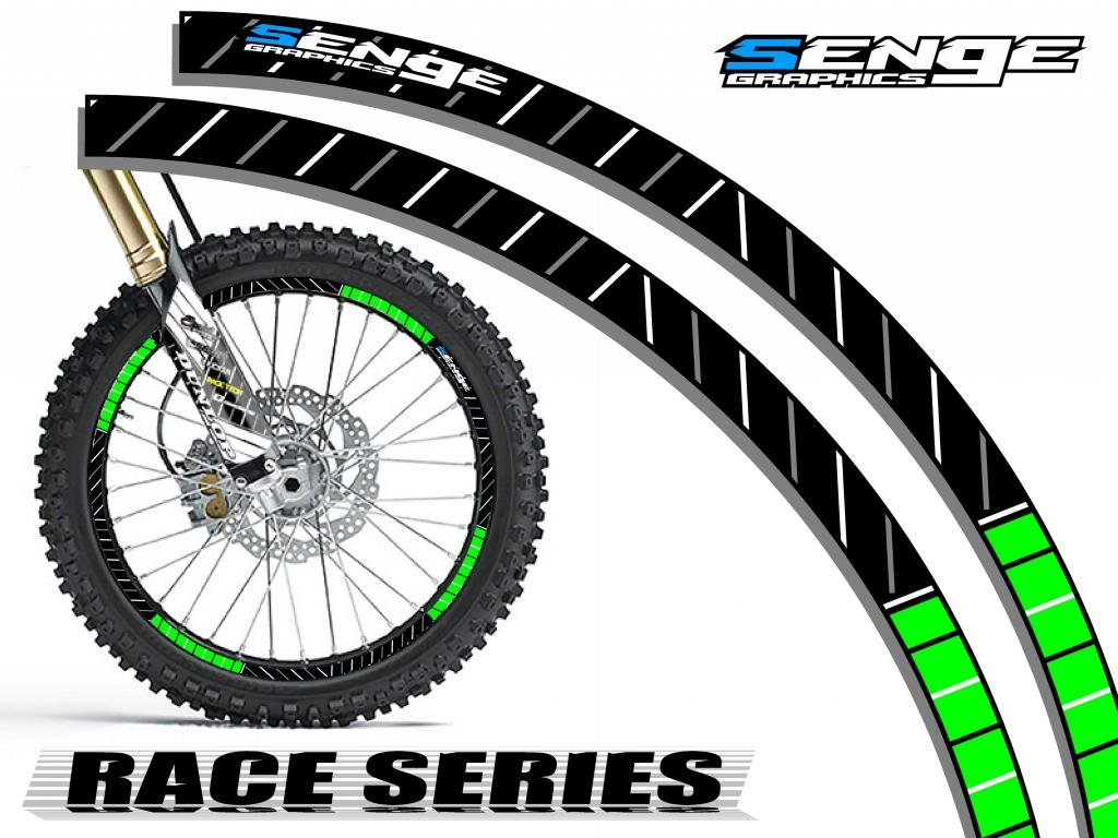 Senge Graphics Race Series Green rim protector set for one 19 inch rim and one 21 inch rim