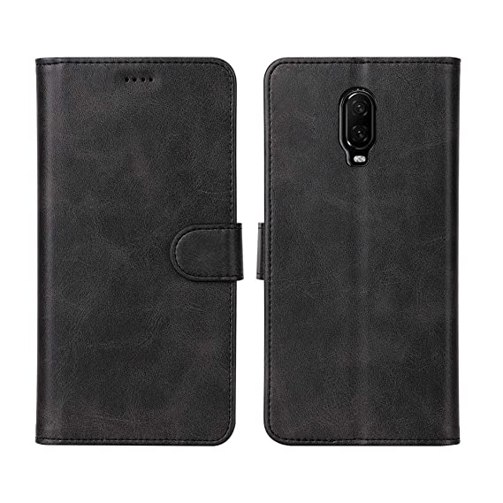 Redluckstar OnePlus 6T Case, Flip Cover Wallet Leather Case [Magnetic  Closure] [Card Slots& Cash Holder] [Kickstand Function] [Soft Silicone Tray