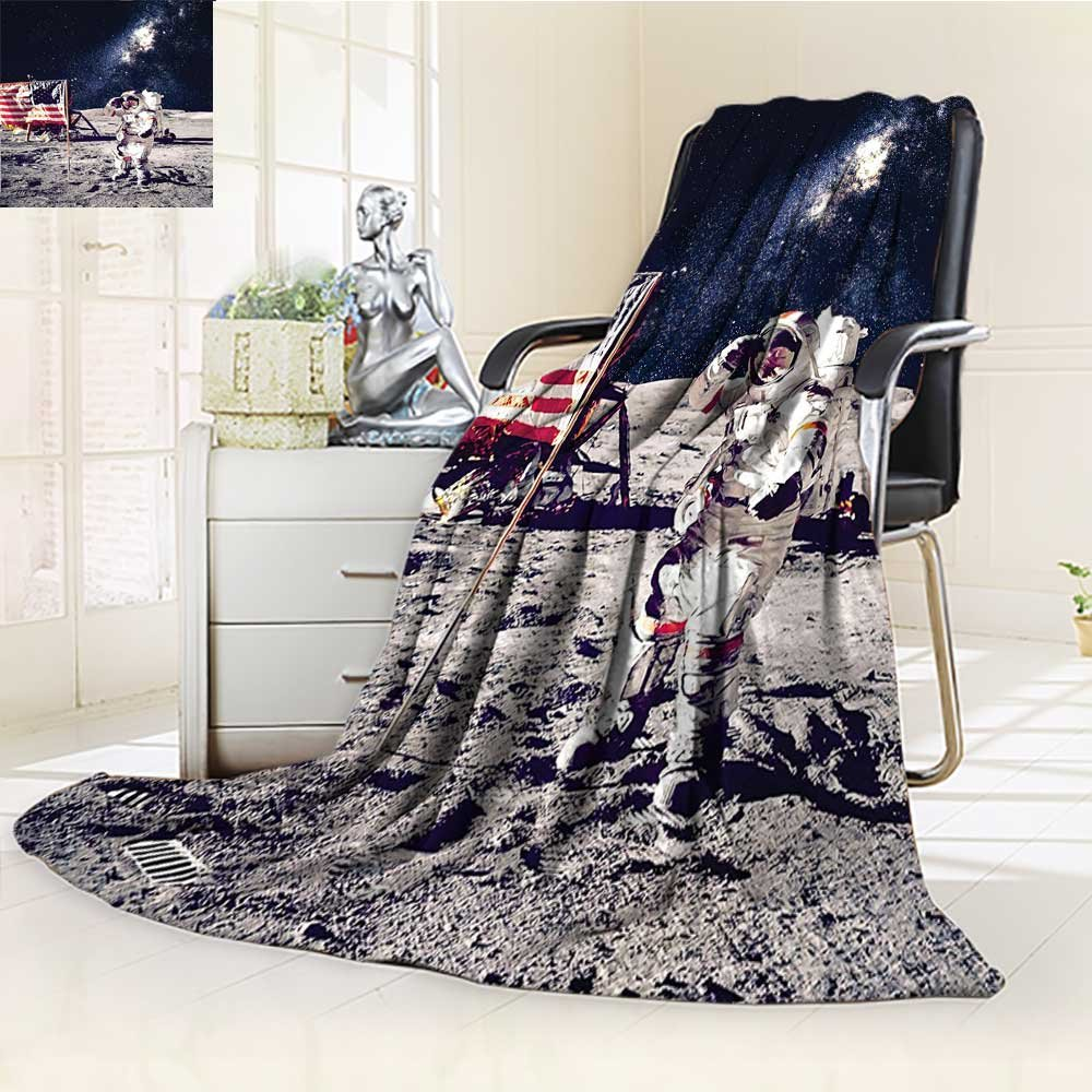 YOYI-HOME Duplex Printed Blanket Warm Microfiber Outer Space Spaceman on Moon Future Solar Discovery in Deep Technology View Blue Grey for Bed or Couch/W47 x H59