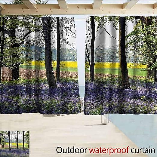 SEMZUXCVO - Cortinas de Madera para Ventanas y Exteriores, diseño de pérgola con Vista panorámica al Amanecer, Color Azul Marino: Amazon.es: Jardín