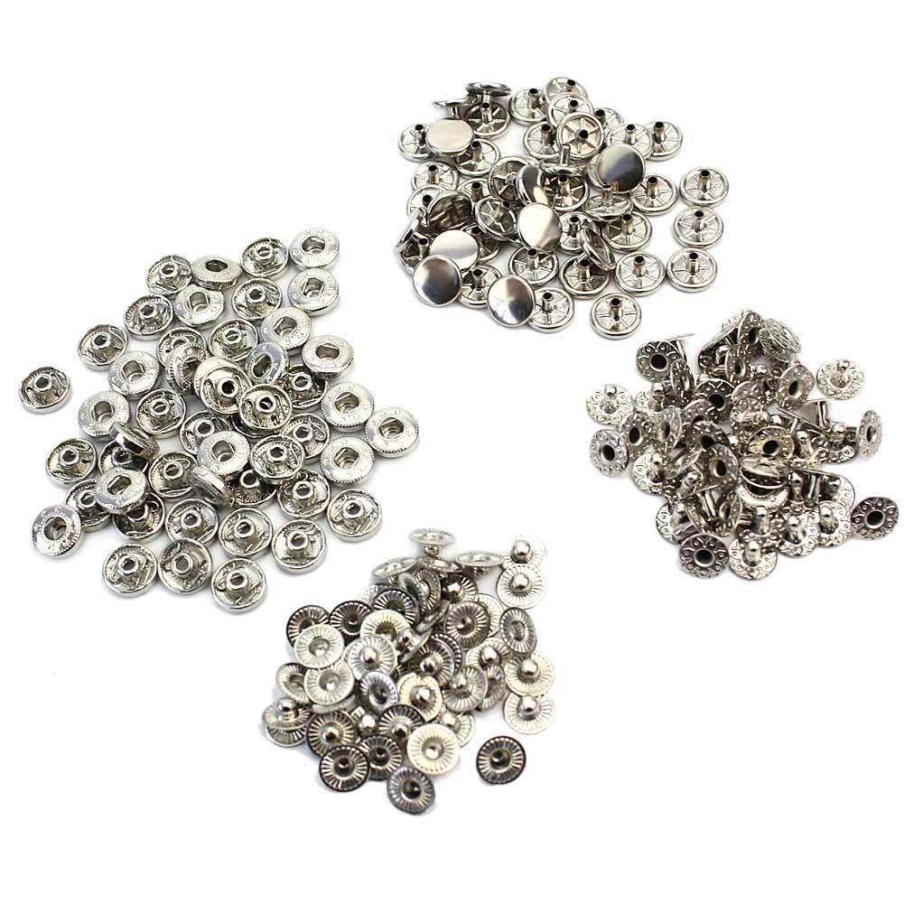 SQWK 50 Pcs Metal Silver Round Snap Press Buttons DIY Sewing Crafts Bags Belts Leather Bracelets Decoration Dia 1CM