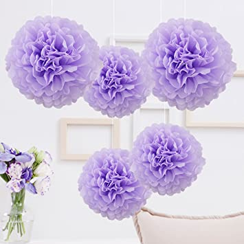 5er Seidenpapier Pompoms Deko Lila Set Deko Party Hochzeit