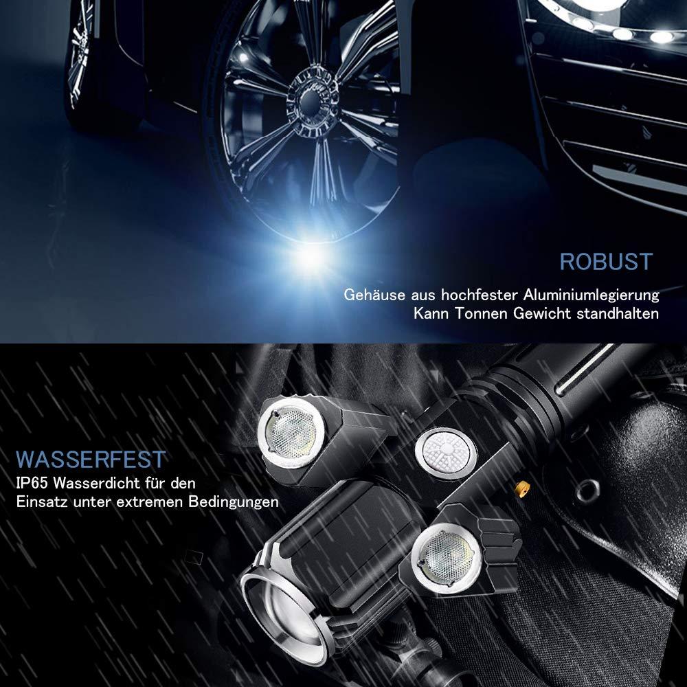 Superhell 500 Lumen T6 LED Wandern 4 Einstellungen mit drehbaren Arme f/ür Campen Kostenloser St/änder Fahrradfahren und Notf/älle Cobiz USB aufladbare Taschenlampe Praktische LED Taschenlampe