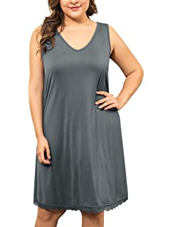 ba624a99ac IN VOLAND Women s Plus Size Nightgown Cotton Sleep Shirt V Neck Sleeveless  Sleep Dress Sleepwear