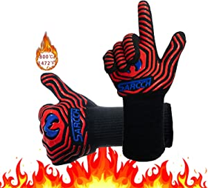 BBQ Grill Gloves Oven Gloves1472℉ Gloves BBQ Heat-Resistant Silicon Insulating Gloves for Kitchen Cooking, Frying and Grilling. Can Handle hot Food in The Oven Heat-Resistant Gloves