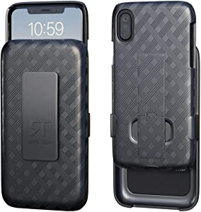 Rome Tech Holster Case with Belt Clip for Apple iPhone Xs Max - Slim Heavy Duty Shell Holster Combo - Rugged Phone Cover with Kickstand Compatible with Apple iPhone Xs Max - Black